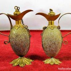 Miniaturas de perfumes antiguos: PAREJA DE PERFUMEROS. METAL DORADO. ESPAÑA. SIGLO XIX-XX. Lote 287255718