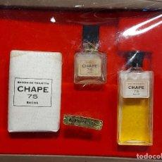 Miniaturas de perfumes antiguos: ESTUCHE BACHS ORIGINAL / JABÓN Y PERFUME CHAPE 75 / ALGO EVAPORADO / BUEN ESTADO.. Lote 289728813