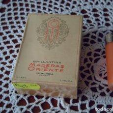 Miniaturas de perfumes antiguos: DIFÍCIL.. BRILLANTINA LÍQ. MADERAS D ORIENTE MYRURGIA 45 ML. PRECINTADA, IMPECABLE, DE COLECCIÓN. Lote 295494368