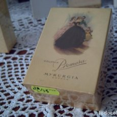Miniaturas de perfumes antiguos: ANTIGUA COLONIA PROMESA DE MYRURGIA, TIPO 1/16, COMPLETA, IMPECABLE, PRECINTADA. Lote 295496008