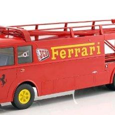 Hobbys: FIAT BARTOLETTI 306/2 CARRERAS TRANSPORTADOR FERRARI JCB RACING ROJO 1:18 NOREV. Lote 143725006