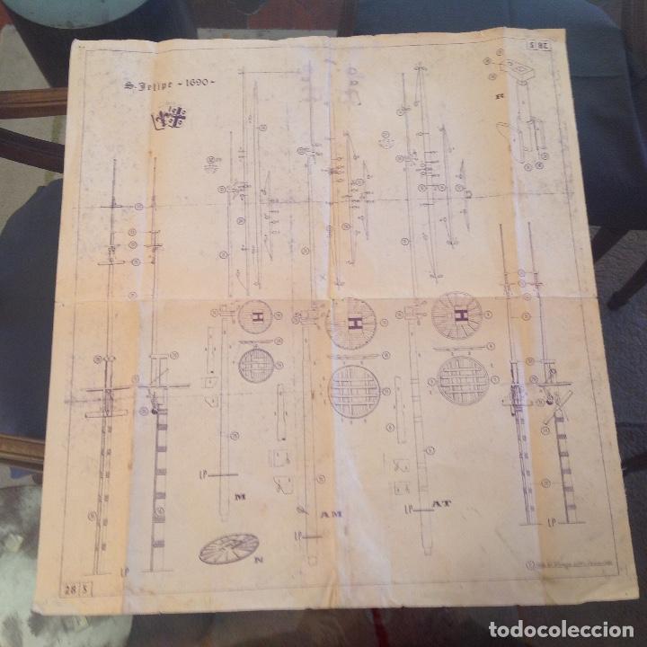 PLANO DE MONTAJE DEL BARCO S. FELIPE 1690, EDICION NAVIMODELISMO 1966, VINCENZO LUSCI, FLORENCIA, (Juguetes - Modelismo y Radiocontrol - Herramientas y Accesorios)