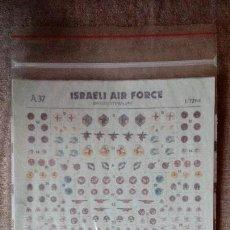Hobbys: ALMARK DECALS A37: JUEGO DE CALCAS (DECALS) ISRAELI AIR FORCE BADGES/STENCILLING - ESCALA 1/72. Lote 154115534