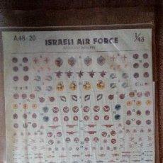 Hobbys: ALMARK DECALS A48-20: JUEGO DE CALCAS (DECALS) ISRAELI AIR FORCE BADGES/STENCILLING - ESCALA 1/48. Lote 154115650