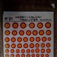 Hobbys: HOBBY-CALCAS TRANSFER Nº 21: TRANSFERIBLES (CALCAS EN SECO) DE ESCARAPELAS ESPAÑOLAS - VARIAS ESCALA. Lote 154116106