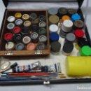Hobbys: LOTE DE VARIAS PINTURAS, PINCELES Y ESPÁTULAS CON SU CAJA , MODELISMO, VER FOTOS. Lote 165044922