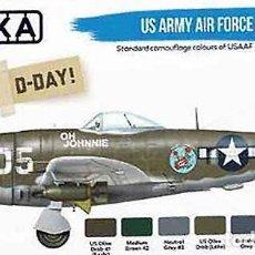 Hobbys: SET PINTURAS US ARMY AIR FORCE (1941-45, ESPECIAL PINCEL) DE HATAKA HOBBY (6X17 ML). Lote 286969298