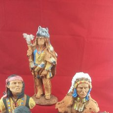 Hobbys: FIGURAS GUERREROS INDIOS RESINA Y BASE MADERA. Lote 118768723