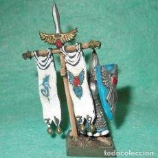 Hobbys: LOTE FIGURA ANTIGUA GAMES WORKSHOP DE 1999 - TIPO WARHAMMER / SEÑOR DE LOS ANILLOS - ABANDERADO ELFO. Lote 185997160