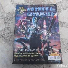 Hobbys: WHITE DWARF Nº 53, CODEX ELDAR, LA FURIA DESATADA DE KHAINE, LA GUARDIA MENETERITA, EL REPSO DEL GUE. Lote 227980203