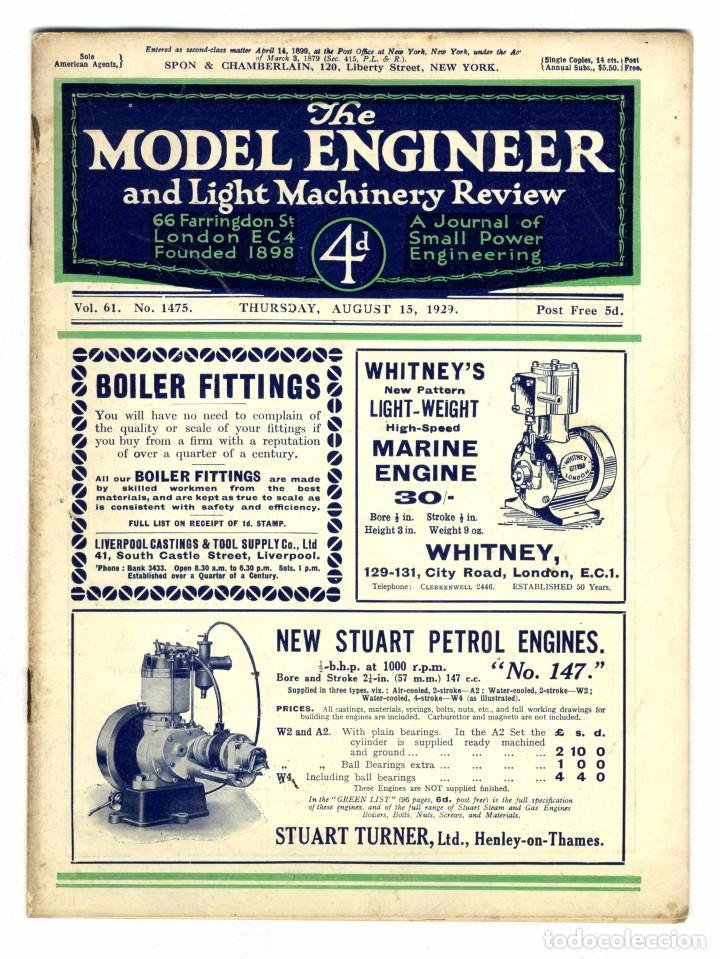 MODEL ENGINEER - REVISTA VOL 61 Nº 1475 AGOSTO 1929 (Juguetes - Modelismo y Radiocontrol - Revistas)