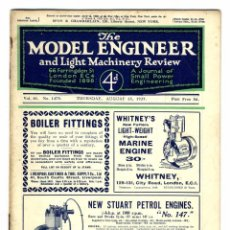 Hobbys: MODEL ENGINEER - REVISTA VOL 61 Nº 1475 AGOSTO 1929. Lote 93237270