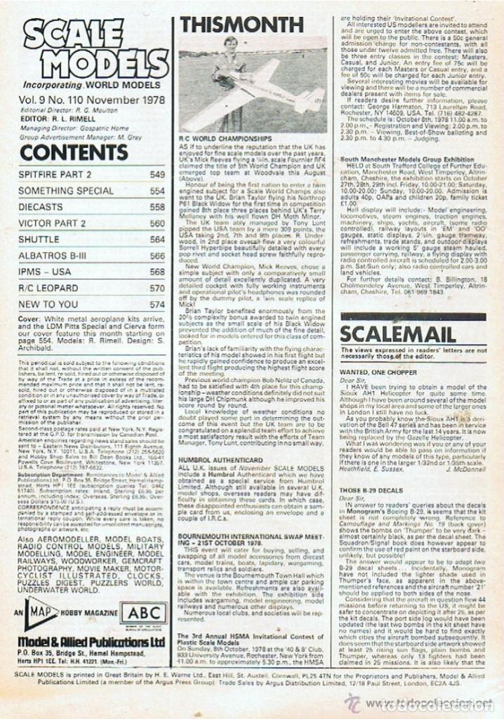 Hobbys: SCALE MODELS AÑO 1978 NOVIEMBRE - Foto 2 - 109330651
