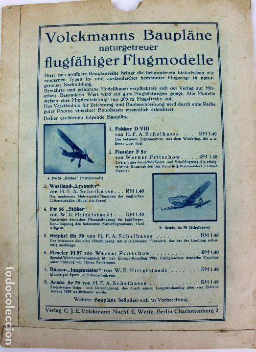 Hobbys: PR-292 AEROMODELISMO. VOLCKMANNS BAUPLÄNE. MODELO FW56 STÖSSER. CON PLANO MONTAJE. AÑOS 40-50 - Foto 2 - 151419614
