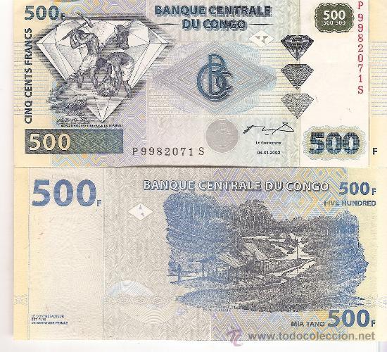BILLETE DE 500 CINQ CENTS FRANCS BANCO CENTRAL DEL CONGO 04/01/2002 (Numismática - Extranjeras - África)