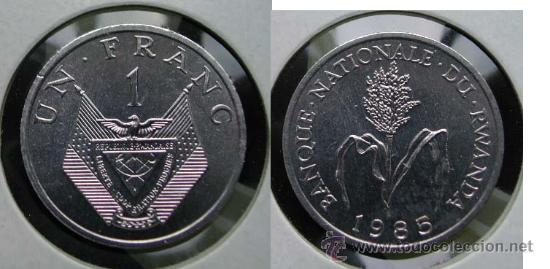 RUANDA RWANDA 1 FRANC 1985 (Numismática - Extranjeras - África)