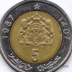 Monedas antiguas de África: 5 DIRHAM 1987. Lote 24578675