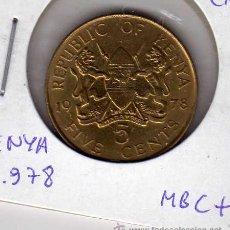 Monedas antiguas de África: MONEDA NÍQUEL LATÓN 5 CENTS KENYA AÑO 1978 MBC+. Lote 24768146