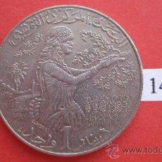 Monedas antiguas de África: TUNEZ MONEDA DE 1 DINAR 1418/1997 MBC-EBC . Lote 26699790