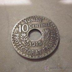 Monedas antiguas de África: MONEDA 10 CENTIMOS TUNEZ (PROTECTORADO FRANCES) 1919. Lote 28768868