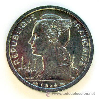 MONEDAS DEL MUNDO . REUNION . 2 FRANCS 1948 (Numismática - Extranjeras - África)