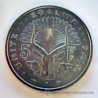 Monedas antiguas de África: MONEDAS DEL MUNDO . DJOBOUTI. 5 FRANCS 1991 - Foto 2 - 29714114