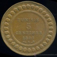 Monedas antiguas de África: TUNEZ : 5 CENT 1891. Lote 30024828