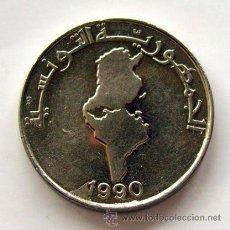 Monedas antiguas de África: MONEDAS DEL MUNDO . TÚNEZ. 1 DINAR 1990 . CALIDAD EBC--. Lote 30107198