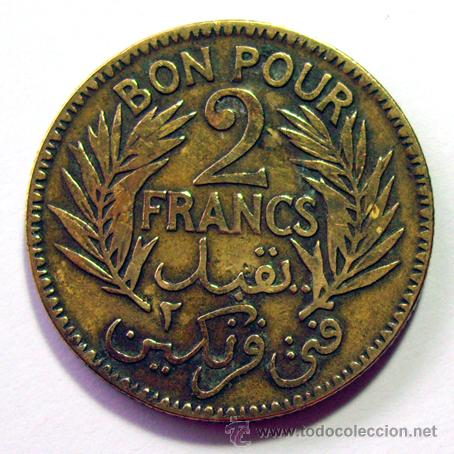 Monedas antiguas de África: MONEDAS DEL MUNDO . TUNEZ . 2 FRANCS 1921 - Foto 2 - 31195756