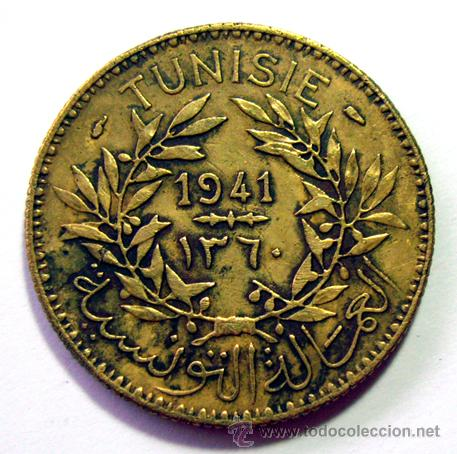 MONEDAS DEL MUNDO . TUNEZ . 2 FRANCS 1941 (Numismática - Extranjeras - África)