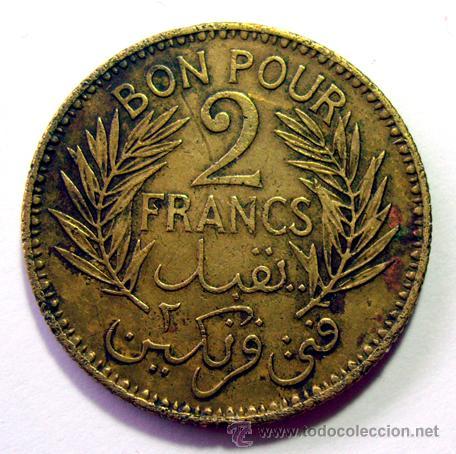 Monedas antiguas de África: MONEDAS DEL MUNDO . TUNEZ . 2 FRANCS 1941 - Foto 2 - 31195790