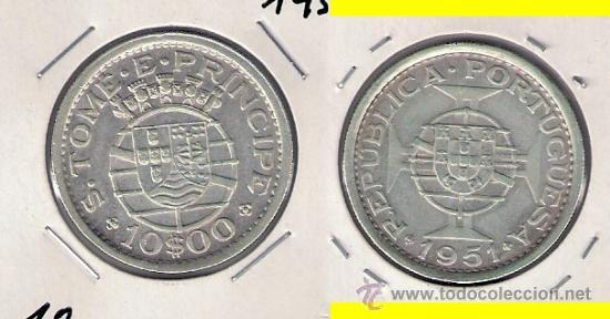 MONEDA DE 10 ESCUDOS DE SANTO TOMÉ Y PRÍNCIPE DE 1951. PLATA. EBC. COLONIA PORTUGUESA. (ME412). (Numismática - Extranjeras - África)