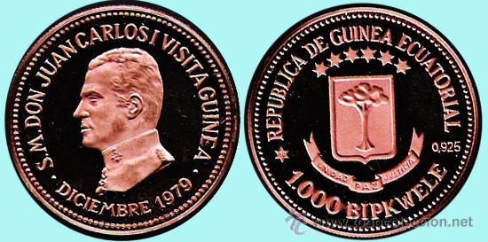 GUINEA ECUAT. 1979*80 PRUEBA PIEFORT 1.000 BIPKUELE EN COBRE 23,4 GR VISITA DE J.CARLOS I.PROOF. (Numismática - Extranjeras - África)