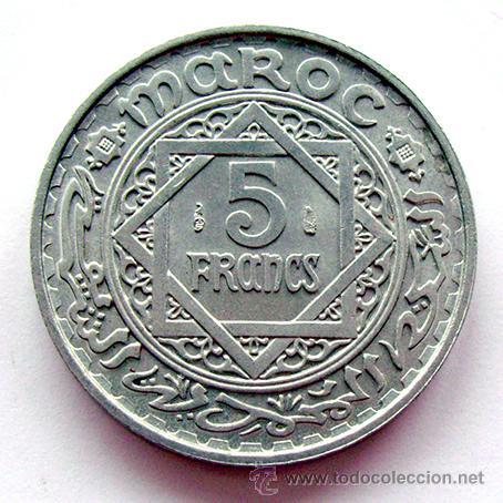 MONEDAS DEL MUNDO . MARRUECOS . 5 FRANCS 1951 . EBC (Numismática - Extranjeras - África)