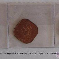 Monedas antiguas de África: MONEDAS DE RUANDA: 1 CENT (1975), 2 CENTS (1975) Y 2 FRANCOS (1970). Lote 39347668