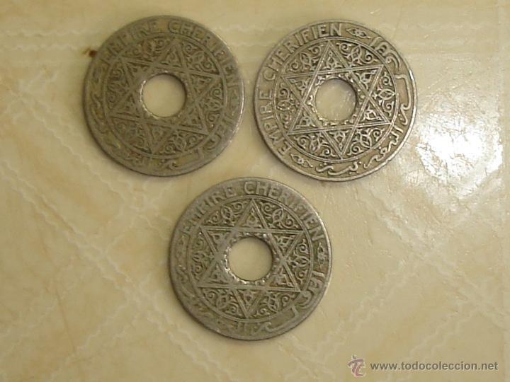 Monedas antiguas de África: Marruecos. Protectorado francés. 3 monedas diferentes de 25 céntimos de 1921-1924. - Foto 2 - 168560522