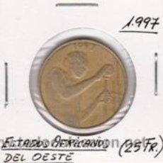Monedas antiguas de África: ESTADOS AFRICANOS DEL OESTE 25 FRANCOS 1997. Lote 42156198