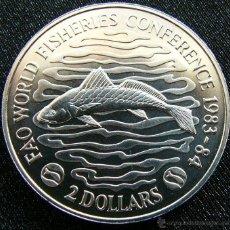 Monedas antiguas de África: LIBERIA $ 2 1983 1984 PESCADO CONFERENCIA PEZ. Lote 48683310
