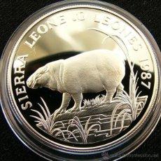 Monedas antiguas de África: SIERRA LEONA 10 LEONE 1987 CERDOS SALVAJES. Lote 49419858