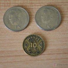 Monedas antiguas de África: 3 MONEDAS MARRUECOS - 2 DE 1965 Y UNA DE 10 10 FRANCOS ACUÑADA EN PARIS - MOHAMED V - 1952. Lote 51372133