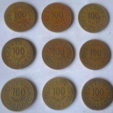 Monedas antiguas de África: LOTE DE NUEVE MONEDAS DE 100 MILLIM DE TUNEZ. Lote 57742073