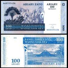 Monnaies anciennes d'Afrique: BILLETE MADAGASCAR - 100 ARIARY - 2004 - PLANCHA. Lote 58212303