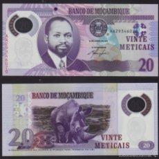 Monedas antiguas de África: BILLETE MOZAMBIQUE - 20 METICAIS - 2011 - PLANCHA. Lote 58212329
