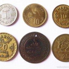 Monedas antiguas de África: LOTE DE 6 MONEDAS DE MARRUECOS - FRANCOS Y SANTIMAT. Lote 58632814