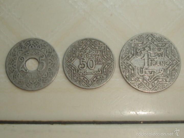MARRUECOS. PROTECTORADO FRANCÉS. 25 CÉNTIMOS, 50 CÉNTIMOS Y 1 FRANCO DE 1921 (Numismática - Extranjeras - África)