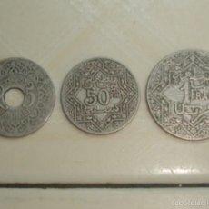 Monedas antiguas de África: MARRUECOS. PROTECTORADO FRANCÉS. 25 CÉNTIMOS, 50 CÉNTIMOS Y 1 FRANCO DE 1921. Lote 139321361