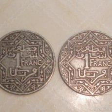Monedas antiguas de África: MARRUECOS. PROTECTORADO FRANCÉS. 2 MONEDAS DE 1 FRANCO DE 1921 Y 1924. Lote 119095920