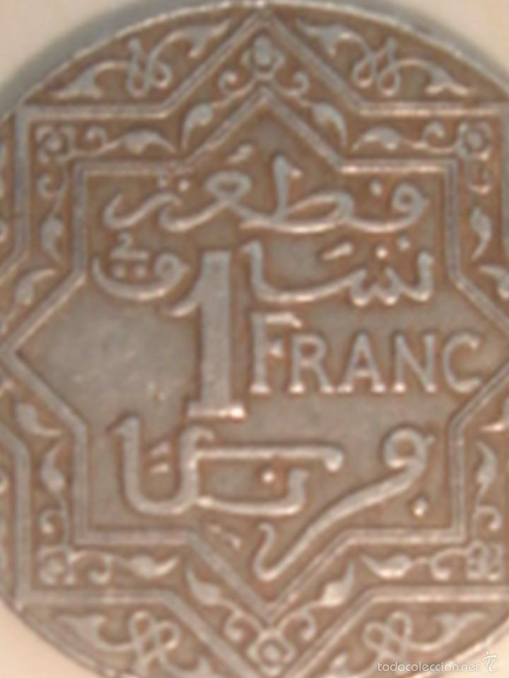 Monedas antiguas de África: Marruecos. Protectorado francés. 2 monedas de 1 franco de 1921 y 1924 - Foto 3 - 119095920