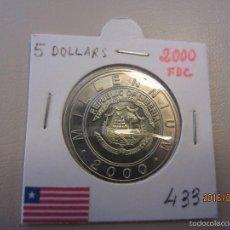 Monedas antiguas de África: LIBERIA 5 DOLLARS KM433 FDC. Lote 60109531