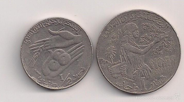 TÚNEZ - 2 MONEDAS DE 1/2 Y 1 DINAR 1990 KM#318-319 (Numismática - Extranjeras - África)